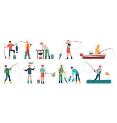 cartoon fisherman fishermen in boats holding net vector image