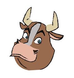Cartoon funny bull horn farm animal vector