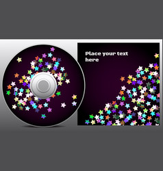 Cd design in disco style with rainbow stars on vector