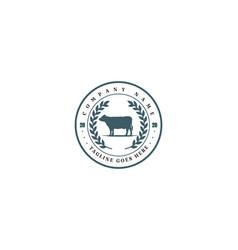 Circular retro vintage cattle angus beef emblem vector
