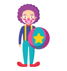 circus clown with balloon plastic vector image