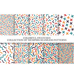 Collection of bright colorful seamless patterns vector