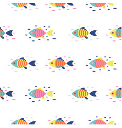 colorful fish seamless pattern cartoon vector image