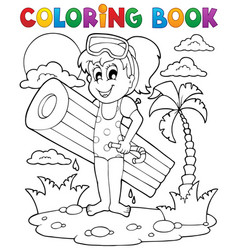 Coloring book summer activity 2 vector
