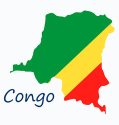 congo map and flag in white background vector image