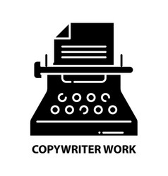 Copywriter work icon black sign with vector