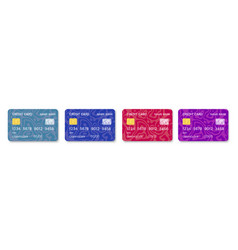 credit cards set multicolor template vector image