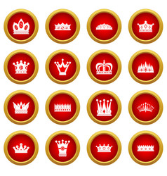 crown icon red circle set vector image
