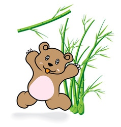 cute Bear in Bamboo Forrest 05 vector image