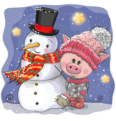 Cute pig in a knitted cap and snowman vector