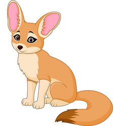Cute red fox sitting vector