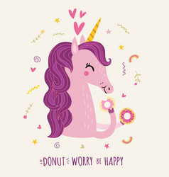 cute unicorn and donuts vector image