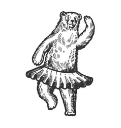 Dancing circus bear animal engraving vector