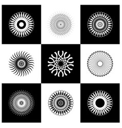 design elements set abstract black and whit vector image