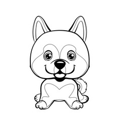 dog alaskan malamute sitting lovely linear dog vector image