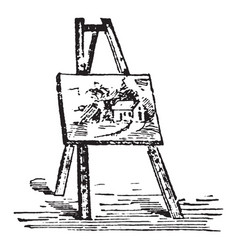 Easel have pictures are placed while being vector