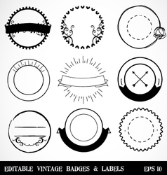 Editable Vintage Badges and Labels vector