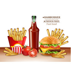 fast food menu burger and french fries vector image
