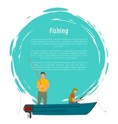 fishermen fishing from motor boat icon vector image