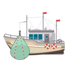 fishing boat icon industrial yacht or vessel vector image