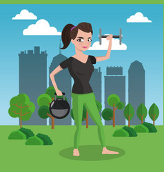 fitness woman with weigths on park vector image