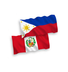 Flags peru and philippines on a white vector