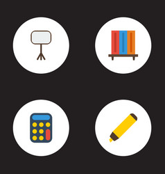 flat icons highlighter bookshop calculate and vector image