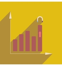 Flat web icon with long shadow economy graph vector image