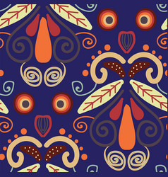 folk orange red and yellow shapes on blue vector image
