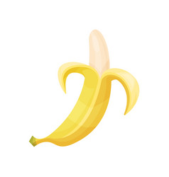 fresh peeled banana fruit cartoon vector image