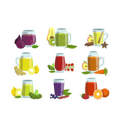 fresh smoothie icon set vector image