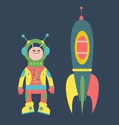 Friendly alien and rocket vector image