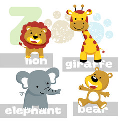 funny animals cartoon with its names vector image