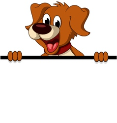 Funny dog cartoon with blank sign vector