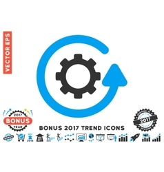 Gearwheel Rotation Direction Flat Icon With 2017 vector image