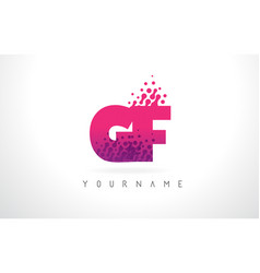 gf g f letter logo with pink purple color and vector image
