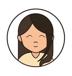 girl close eyes cartoon character portrait female vector image