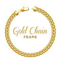 gold chain round border frame wreath circle shape vector image