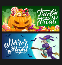 Halloween holiday pumpkin ghost and witch banners vector