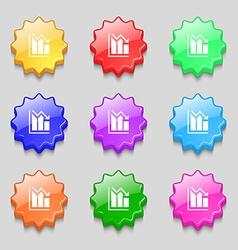 histogram icon sign symbol on nine wavy colourful vector image