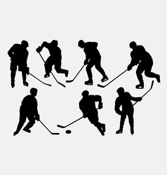 Hockey ice sport action silhouettes vector image