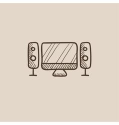 Home cinema system sketch icon vector