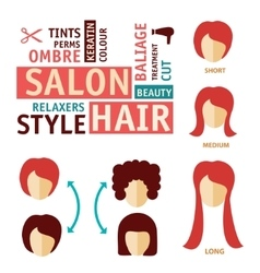 Icons set in flat design style with hair treatment vector
