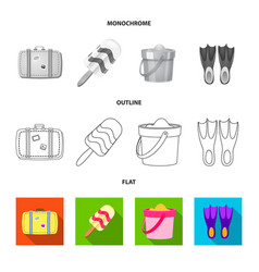 isolated object equipment and swimming symbol vector image