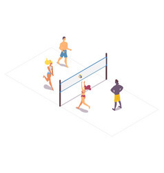 Isometric beach volleyball people moving and vector