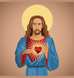jesus christ sacred heart catholic vector image