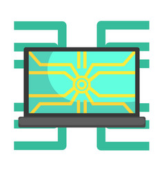 lap top computer connected to system network part vector image