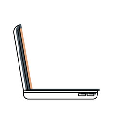 Laptop computer side view in watercolor silhouette vector