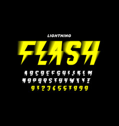 Lightning flash style font alphabet letters and vector