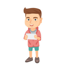 little caucasian boy using a tablet computer vector image
